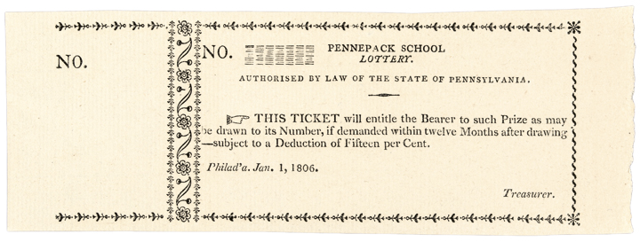 Historic Lottery Tickets, 1806 Pennepack School. Lottery Ticket, Superb Gem