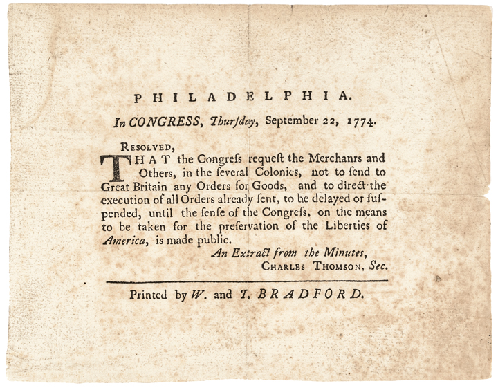 1774 Historic Content 1st Continental Congress Broadside British Trade Suspended