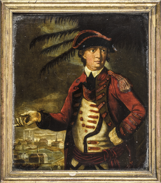 c. 1776 Benedict Arnold Reverse Glass Transfer Print After Plate by Thomas Hart