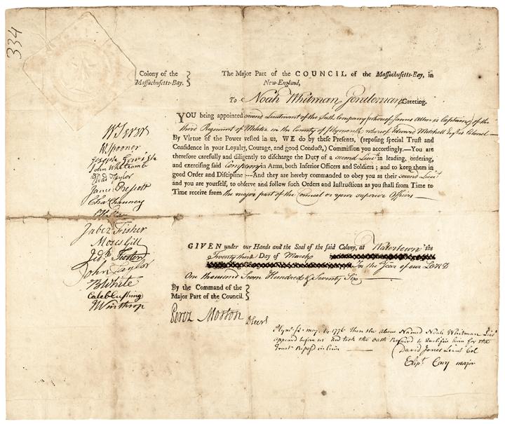 1776 Revolutionary War Massachusetts Bay Military Commission 15 Members Signed
