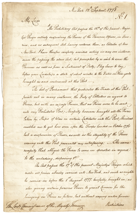 Important Revolutionary War Archive Regarding the English Navy's PRIZE Policies!