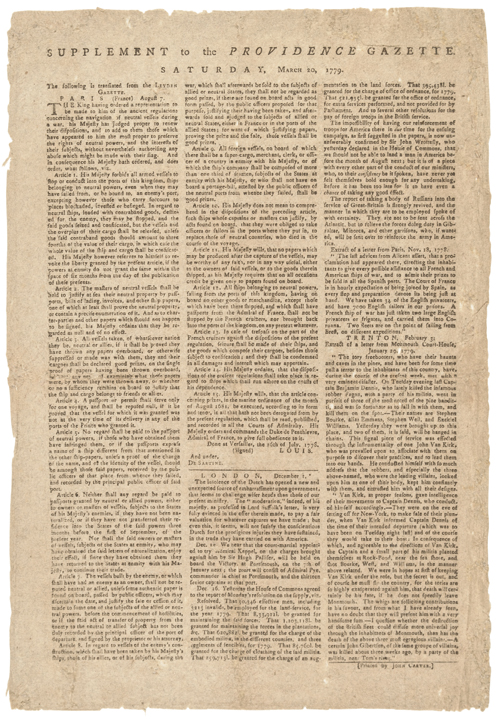 March 20, 1779 Broadside: News on The New American Treaty With France