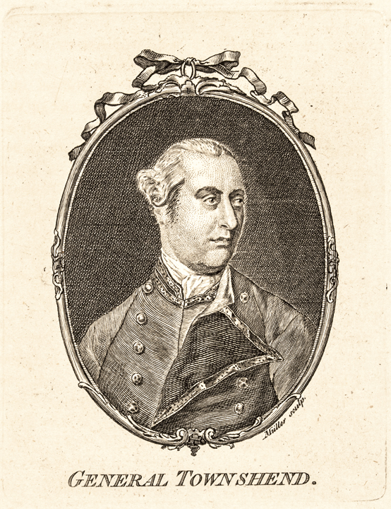 c. 1780 Portrait Engraving of GENERAL GEORGE TOWNSHEND, 1st Marquess Townshend