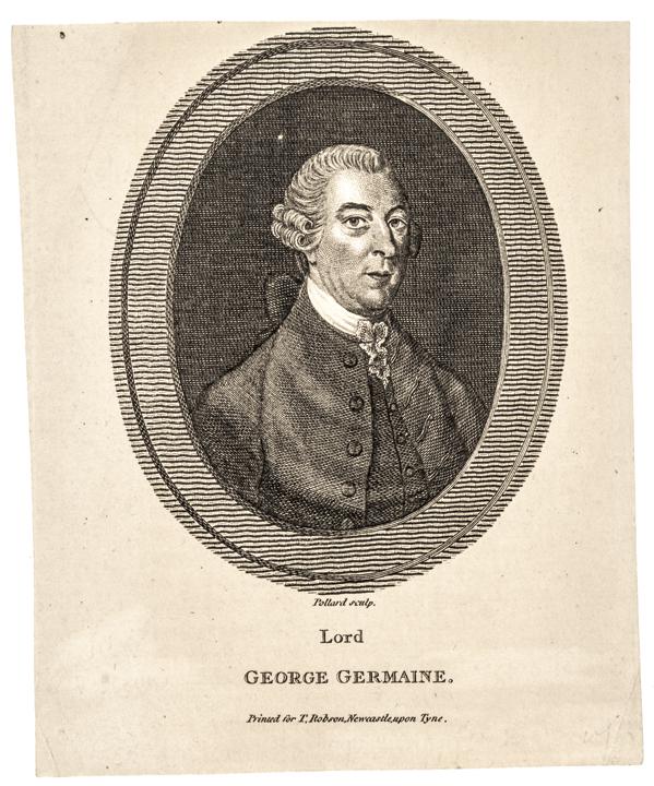 c. 1780 Portrait Engraving of LORD GEORGE GERMAINE, 1st Viscount Sackville