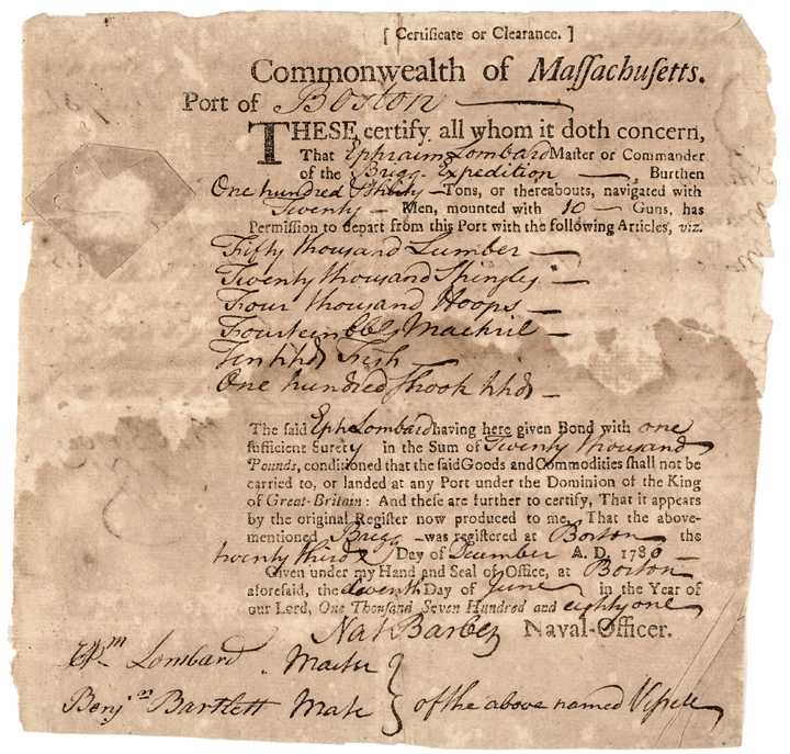 Rare 1781 Revolutionary War Massachusetts Partially-Printed Naval Clearance Form
