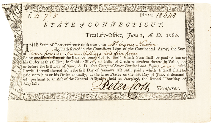 1780 Revolutionary War Connecticut Pay: Connecticut Line of the Continental Army