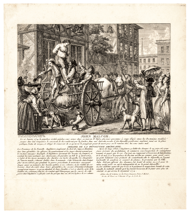 c. 1784 French Print of the Tarring + Feathering of John Malcom in 1774
