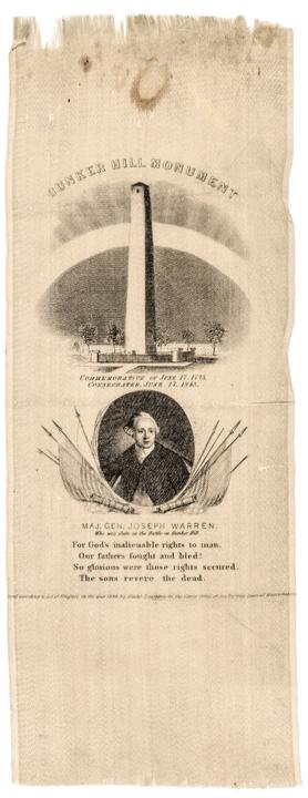 Rare 1843 BUNKER HILL MONUMENT Silk Ribbon Commemorates General Joseph Warren