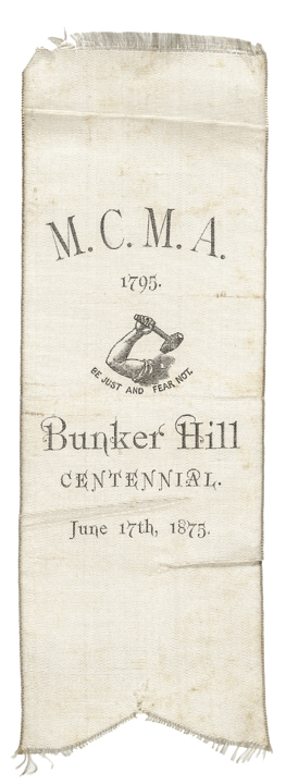 1775-1875 Bunker Hill Centennial MCMA Boston White Silk Printed Ribbon
