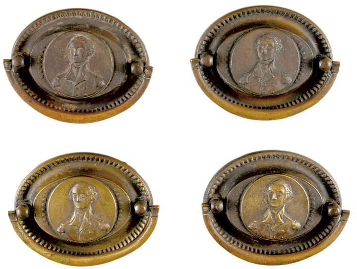 Set of Four GENERAL WASHINGTON Portrait Titled Brass Furniture Pulls