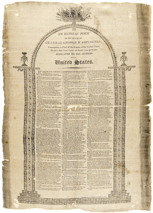 1800 Death of General Washington Printed Philadelphia Textile - Threads No. 21