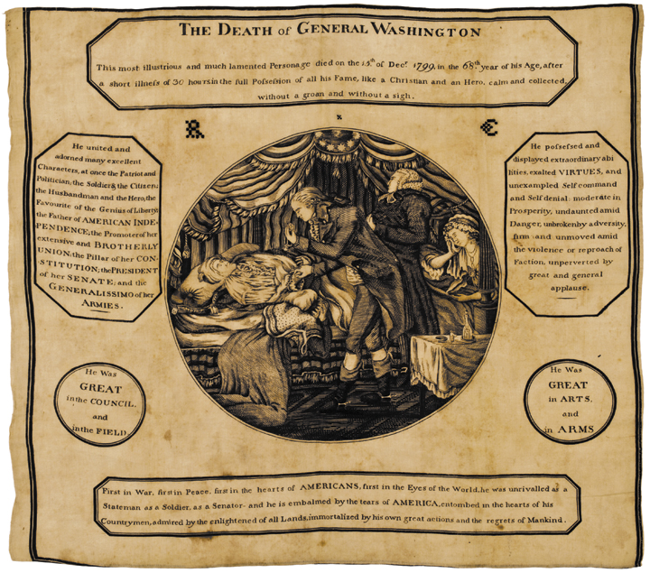 1800 An Elegiac Poem on the Death of George Washington - Printed Silk Broadside