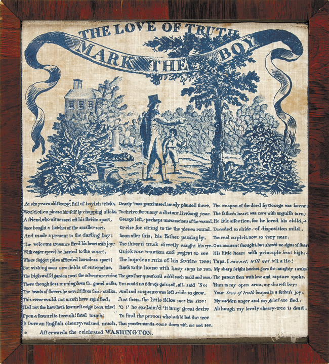 c. 1806, Print THE LOVE OF TRUTH - MARK THE BOY Linen Textile Kerchief