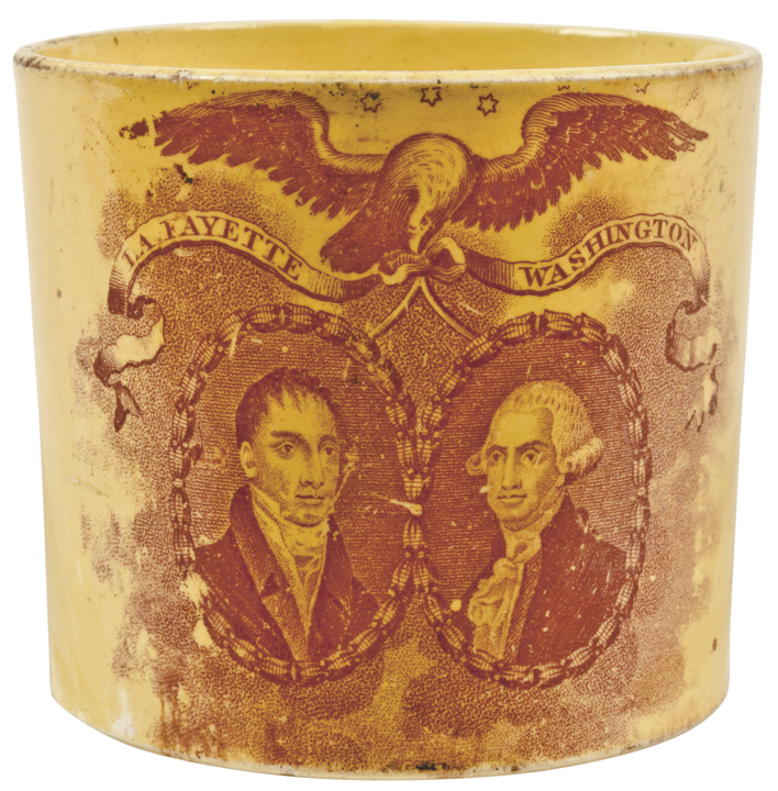 c. 1824 Washington + LaFayette Yellow Creamware Commemorative Cup