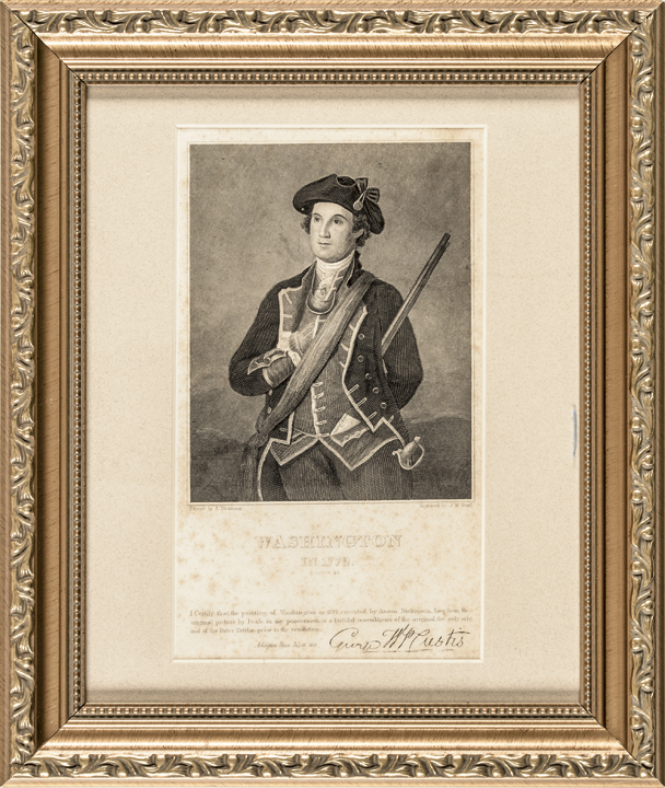 1830 Engraved Print, (George) Washington in 1772 Signed George W.P. Custis