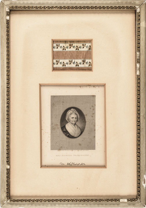 c. 1906, Framed Dress Swatch and Engraved Portrait of Martha Washington