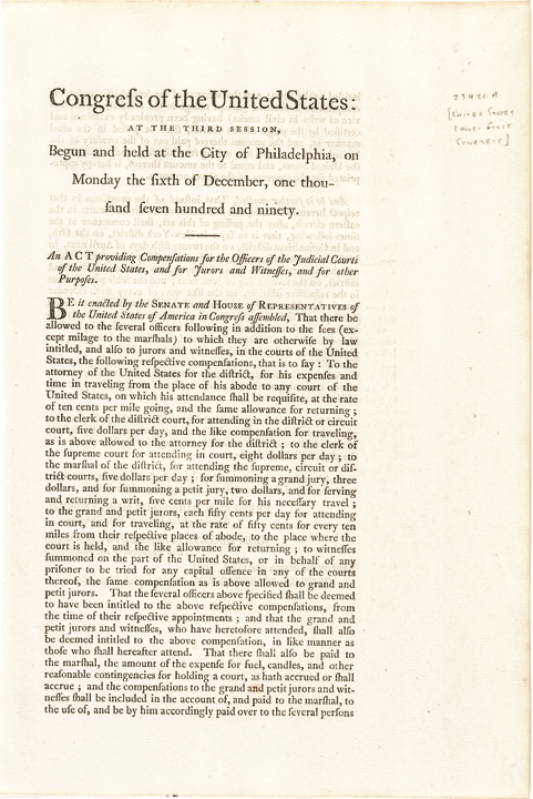 1790 Congressional Act Compensation for Judicial Courts Signed George Washington