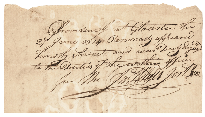 Scarce War of 1812 Rhode Island Militia Field Appointment