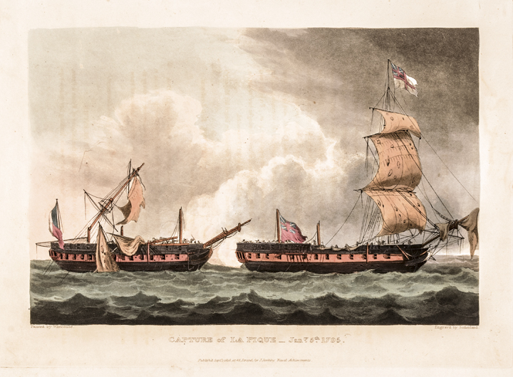 1816 Hand-Colored Engraving titled: Capture of La Pique