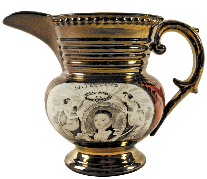 c. 1824 Copper Lusterware Pitcher CORNWALLIS at YorkTown Oct. 19, 1781