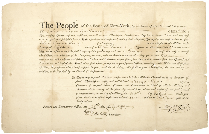 1807 New York Military Appointment Document