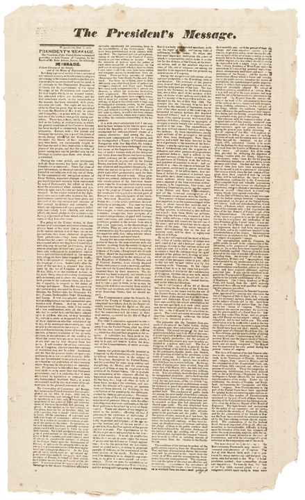 1825 State of the Union Broadsheet by John Quincy Adams