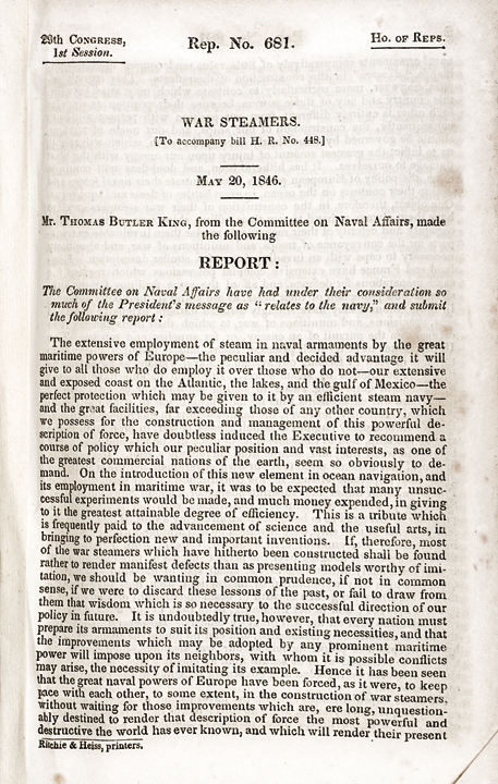 1846 Imprint Congressional Report Titled War Steamers Scarce