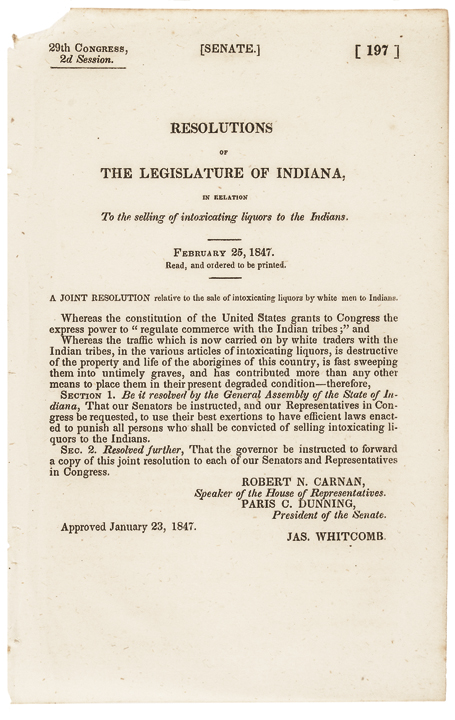1847 Senate Resolution regarding the Sale of Intoxicating Liquors to Indians