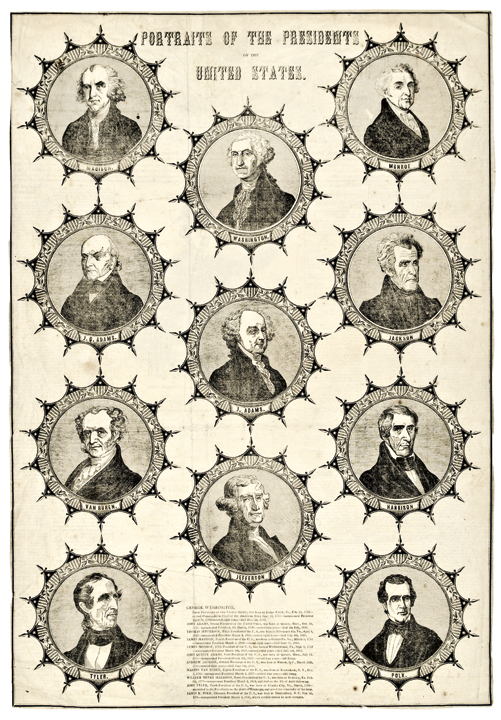President Portraits Broadsheet Washington to Polk