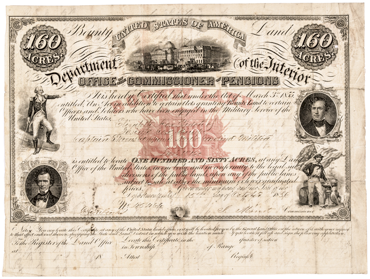 Rare 1856 Partially-Printed Document Bounty Land 160 Acres Pension Certificate