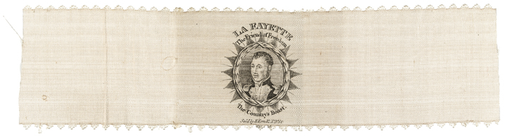 Scarce Horizontal Design 1824 LA FAYETTE Tour Silk Ribbon