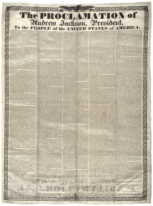 Andrew Jackson, 1832 Nullification Proclamation Broadside Printed on Silk