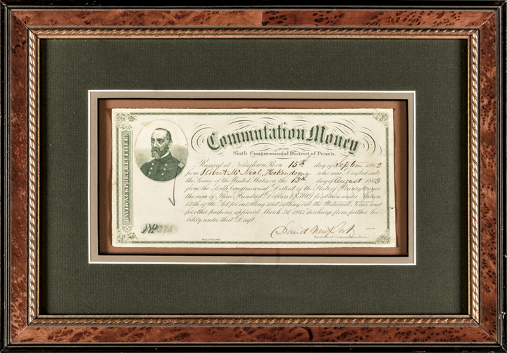 Excessively Rare 1863 Civil War $300 Commutation Money Note on Pennsylvania
