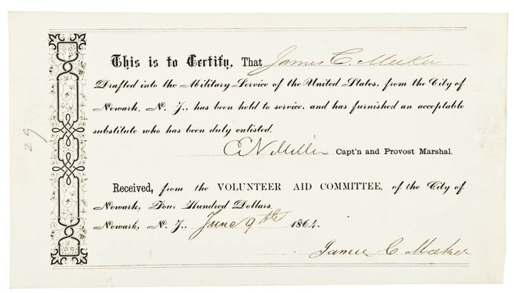 Rare 1864 Union Civil War Draft Substitute $400 Bounty Payment Form !
