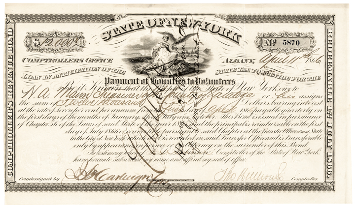 New York Civil War $12,000 Bounty 1866-Dated