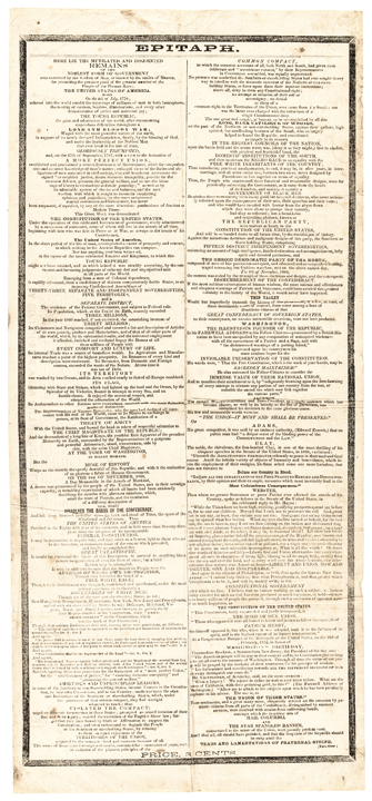 c 1860 Civil War Political Broadside, Epitaph A South-Side View of the Rebellion