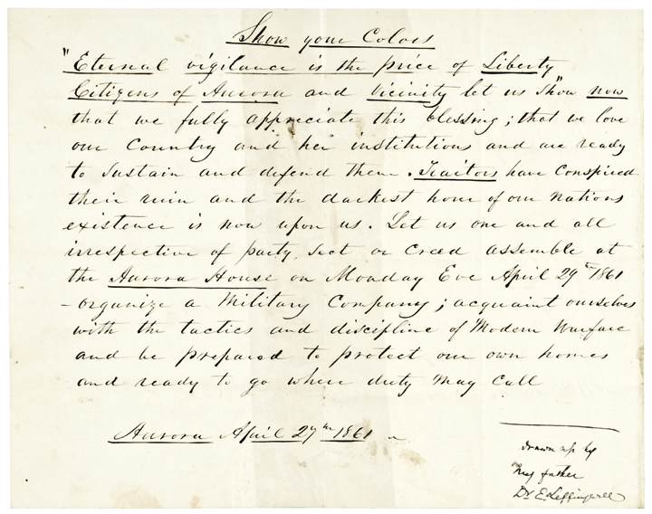 Patriotic New York UNION CIVIL WAR BROADSIDE, 1861