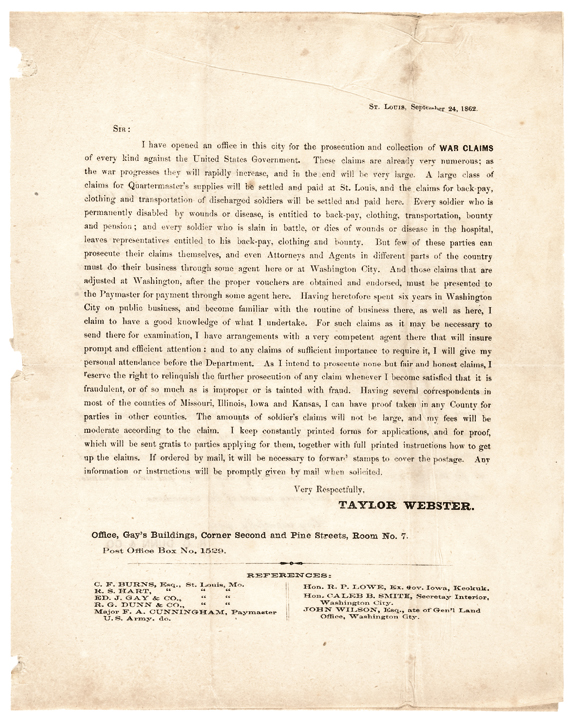 1862 Civil War WAR CLAIMS Against U.S., Printed Advertising Letter