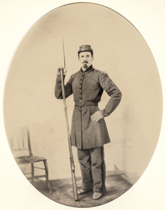 c. 1860s Civil War Sergeant Hand-Painted Photograph with his Rifle and Bayonet