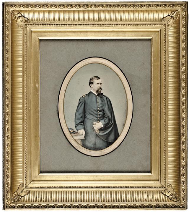 c. 1860-70 Civil War Hand-Painted Albumen Photograph Captain Charles W. Keyes