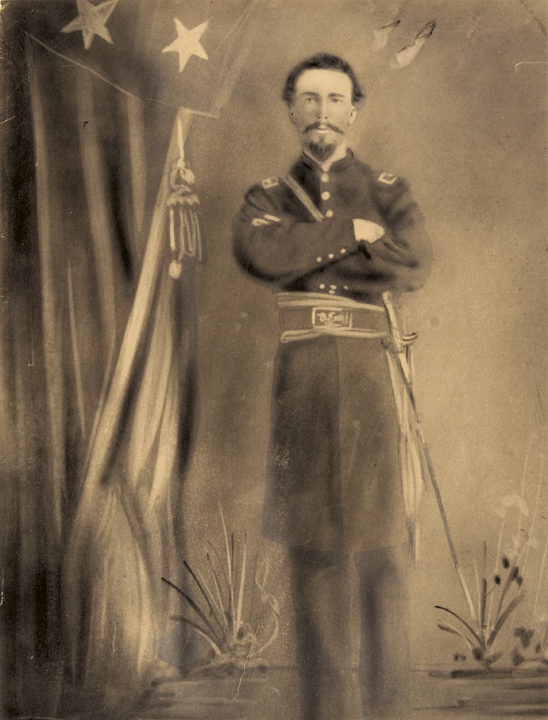 c. 1864 Large Civil War Charcoal Drawing of Union Army Officer