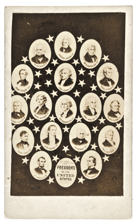 1865-69 Carte de Visite, Collage of First 17 United States Presidents