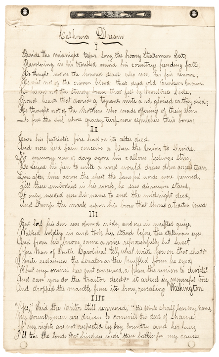 1861 Calhouns Dream of Secession Poem