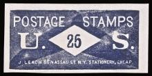 U.S. Postage Stamp Envelope, 25, J. LEACH, Face Panel Only. Near Uncirculated.
