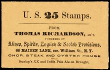 Postage Stamp Envelope, UNIQUE, Thomas Richardson CHOP, STEAK AND OYSTER HOUSE.