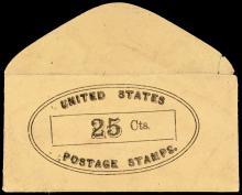 U.S. Postage Stamp Envelope, 25 No Imprint or Location. Full Envelope with Flap