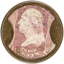 Encased Postage Stamp Three Cents. AYER'S SARSAPARILLA, Small AYER'S Type, EF