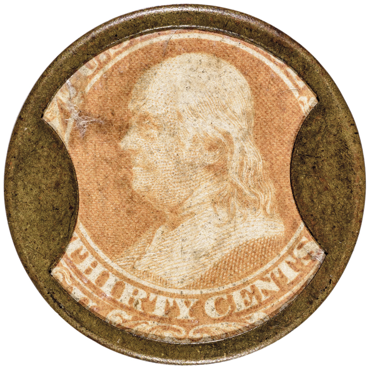 Encased Postage Stamp, Rare 30 JOHN GAULT, Plain Frame, EP-178, S-100, Rarity-6
