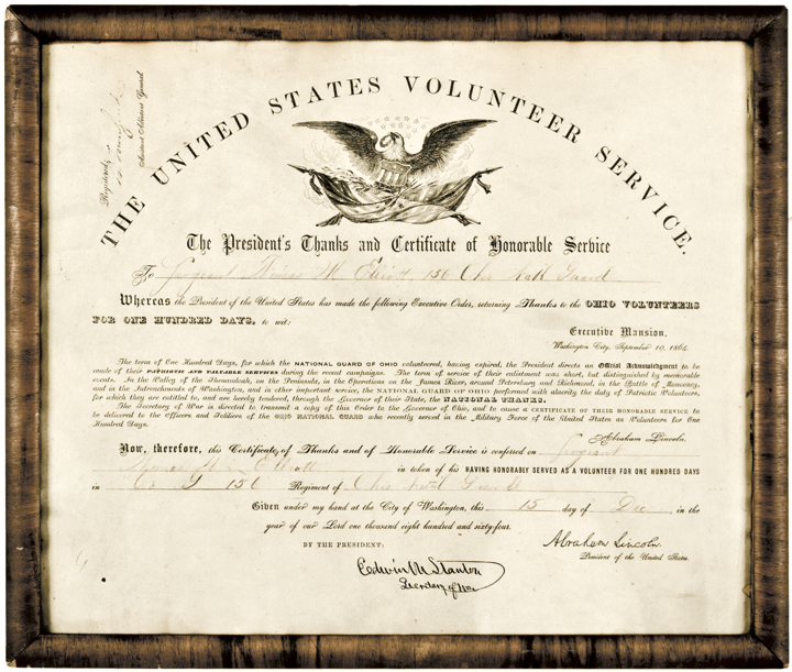 1864 Civil War VOLUNTEER SERVICE Certificate Printed Abraham Lincoln Signature
