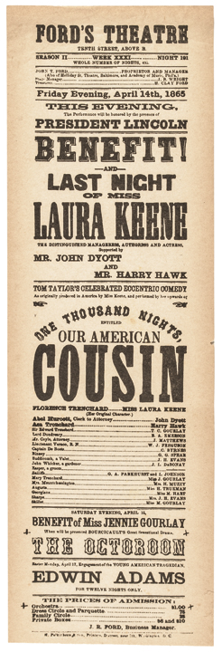 Reproduction of Ford's Theatre Printed Broadside